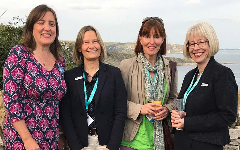 Alison Tallant, Purbeck locality manager for Dorset HealthCare, Rachel Johnstone from Dementia UK, Admiral Nurse Rachel Murray and Dr Hilda Hayo, chief Admiral Nurse with Dementia UK