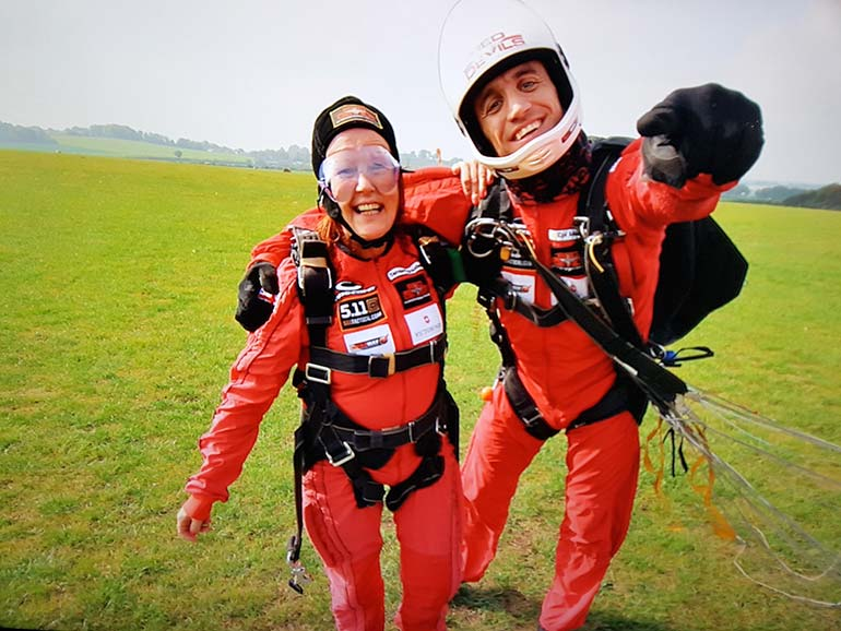 Jan Hawkins-Kitson skydive with Red Devils