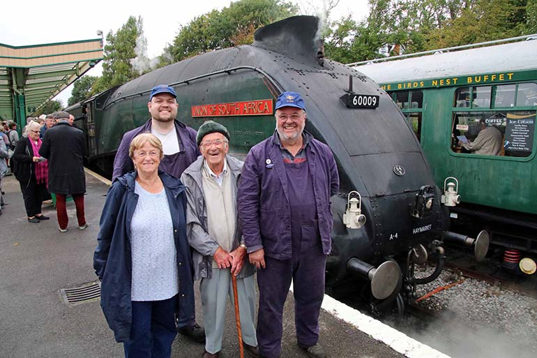 Julian Hathaway with Union of South Africa and his family at Swanage station