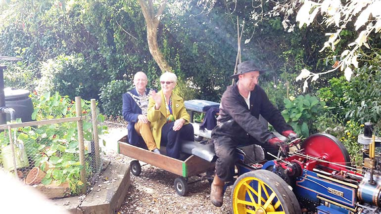 Mayor of Wimborne Terry Wheeler and Mayoress Pauline Wheeler enjoy a ride around Wimborne Model Town