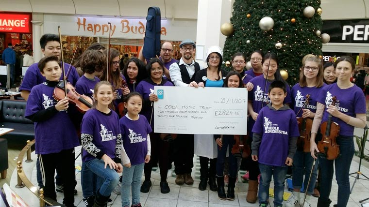 Co-op in Boscombe has raised £2,824.15 for the Coda Fiddle Orchestra