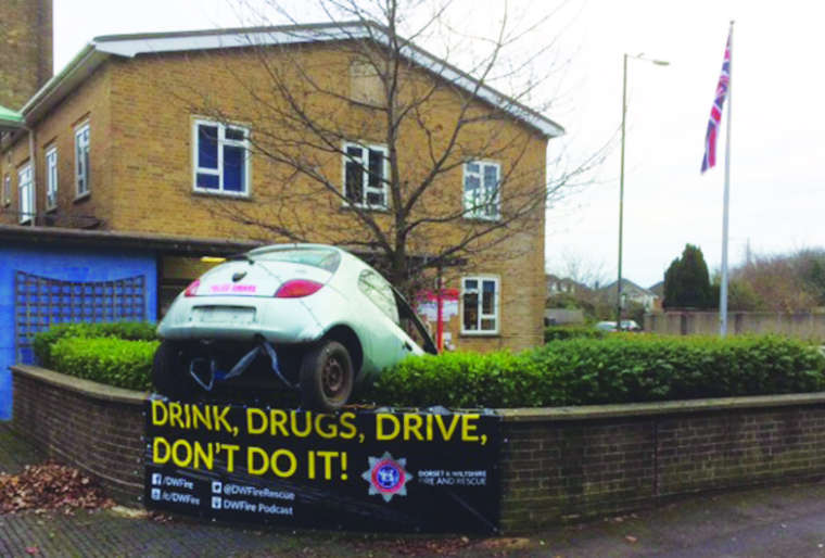 Two Bournemouth fire stations are supporting the Christmas anti-drink/drug driving campaign with a dramatic display.