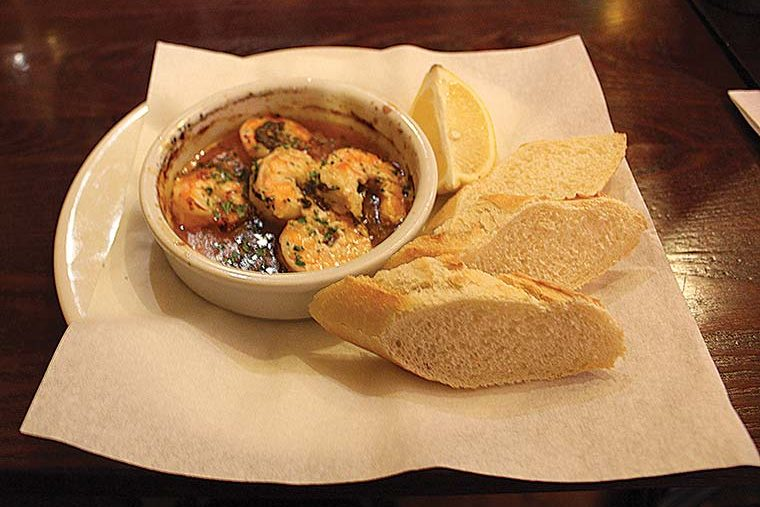 Crevettes (sustainable king prawns in garlic and smoked chilli butter with baguette)