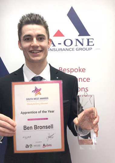 Ben Bronsell was declared Apprentice of the Year at The South West Business and Community Awards this month