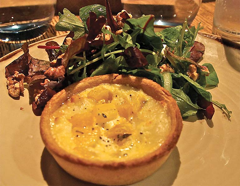 Goats cheese pumpkin tart at The White Buck Inn