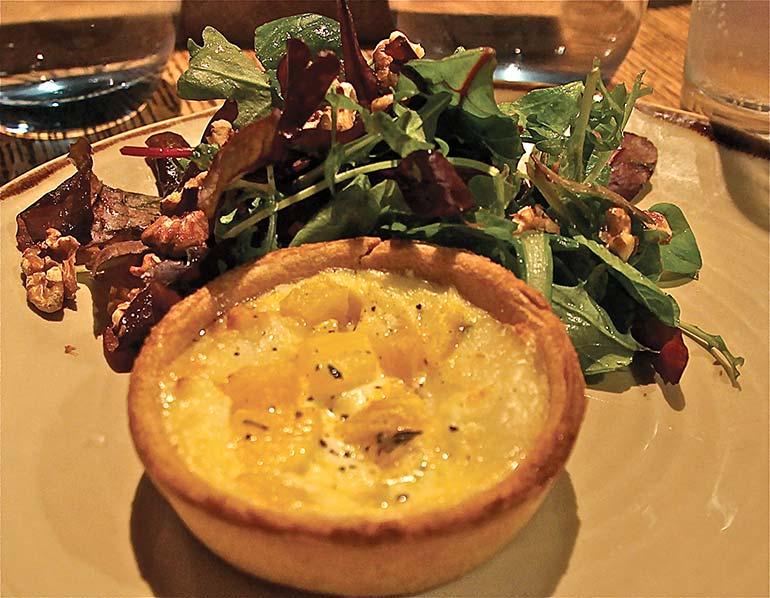 Goats cheese pumpkin tart at The White Buck Inn