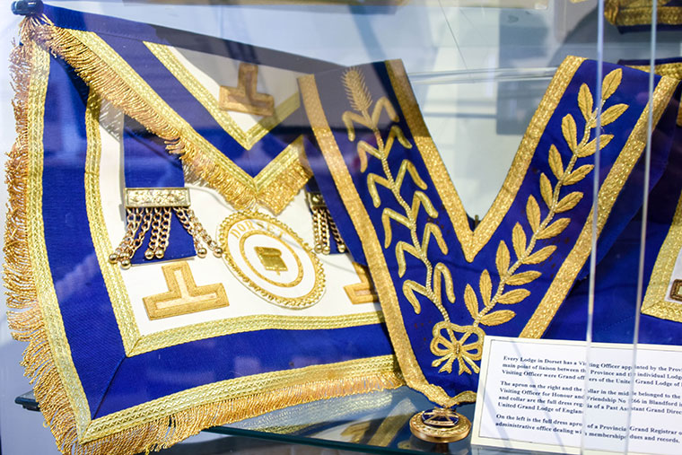 Freemason exhibit item at Blandford Fashion Museum