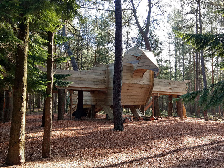 New Hawk House play sculpture at Moors Valley