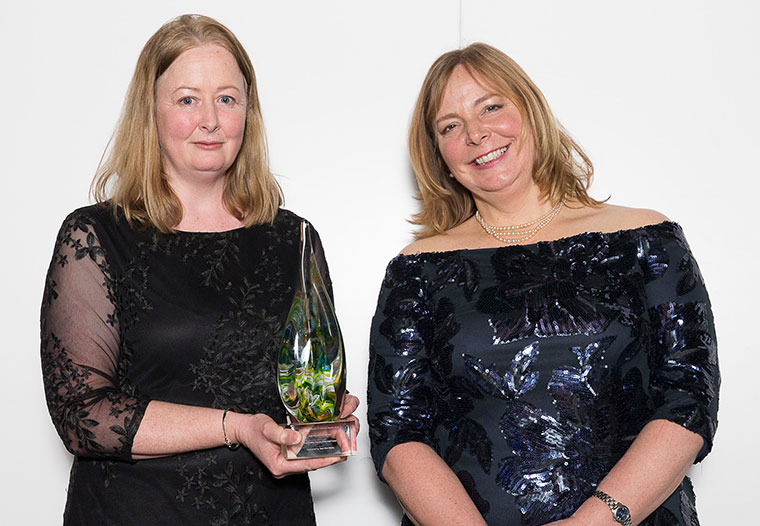 Linda Laker, recreation ranger and Tracey Churcher, recreation manager, Forestry Commission, receive the gold award