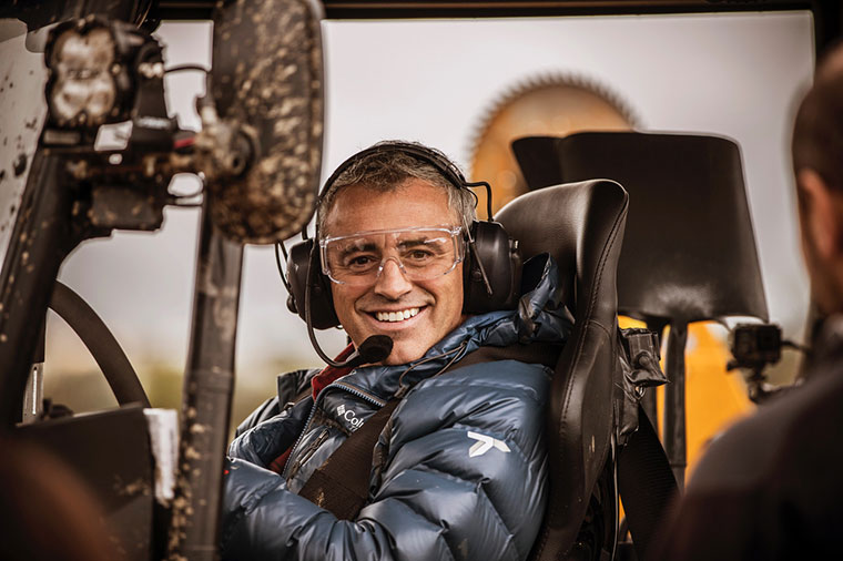 Top Gear presenter Matt LeBlanc at the wheel of the Track-Tor