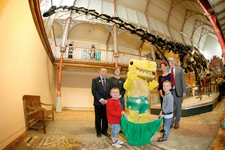 PANTS campaign launched at Dorset County Museum by Dippy and Pantosaurus