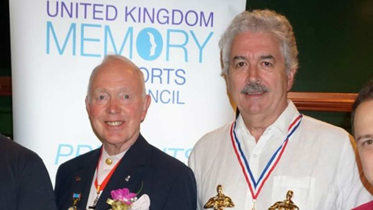 Founder of the Mind Sport of Memory Tony Buzan (left) with 60-yearold UK Memory Champion Dominic O'Brien