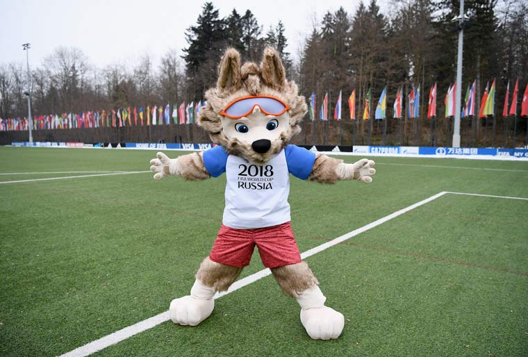 Official FIFA World Cup mascot on his way to Poole
