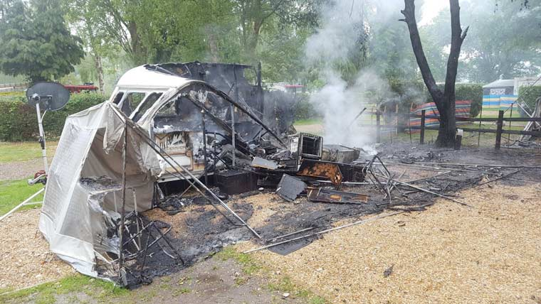 Fire safety reminders issued after fire devastates three caravans in Holton Heath