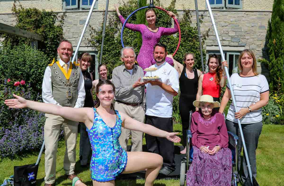Stephanie Jolliffe (kneeling, front), is a member of the Companionship team at Castle View care home and a student of aerial performance at Secret Circus
