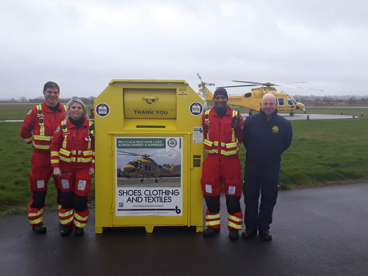 Over £1m raised for Dorset and Somerset Air Ambulance by donating unwanted clothes, shoes, bags, bedding and household textiles