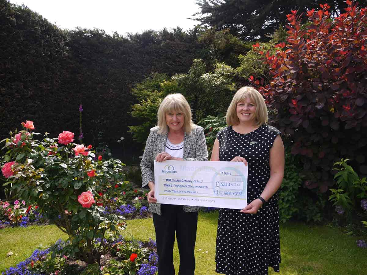 Lin Sharpe (left) receiving the £3,000 cheque from managing partner, Nicola Lowe.