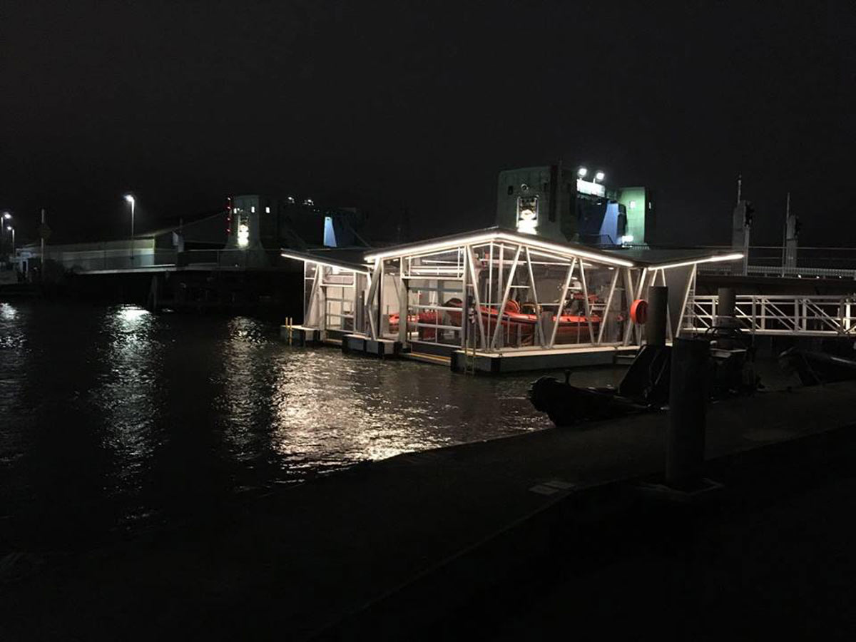 The new boathouse at night.