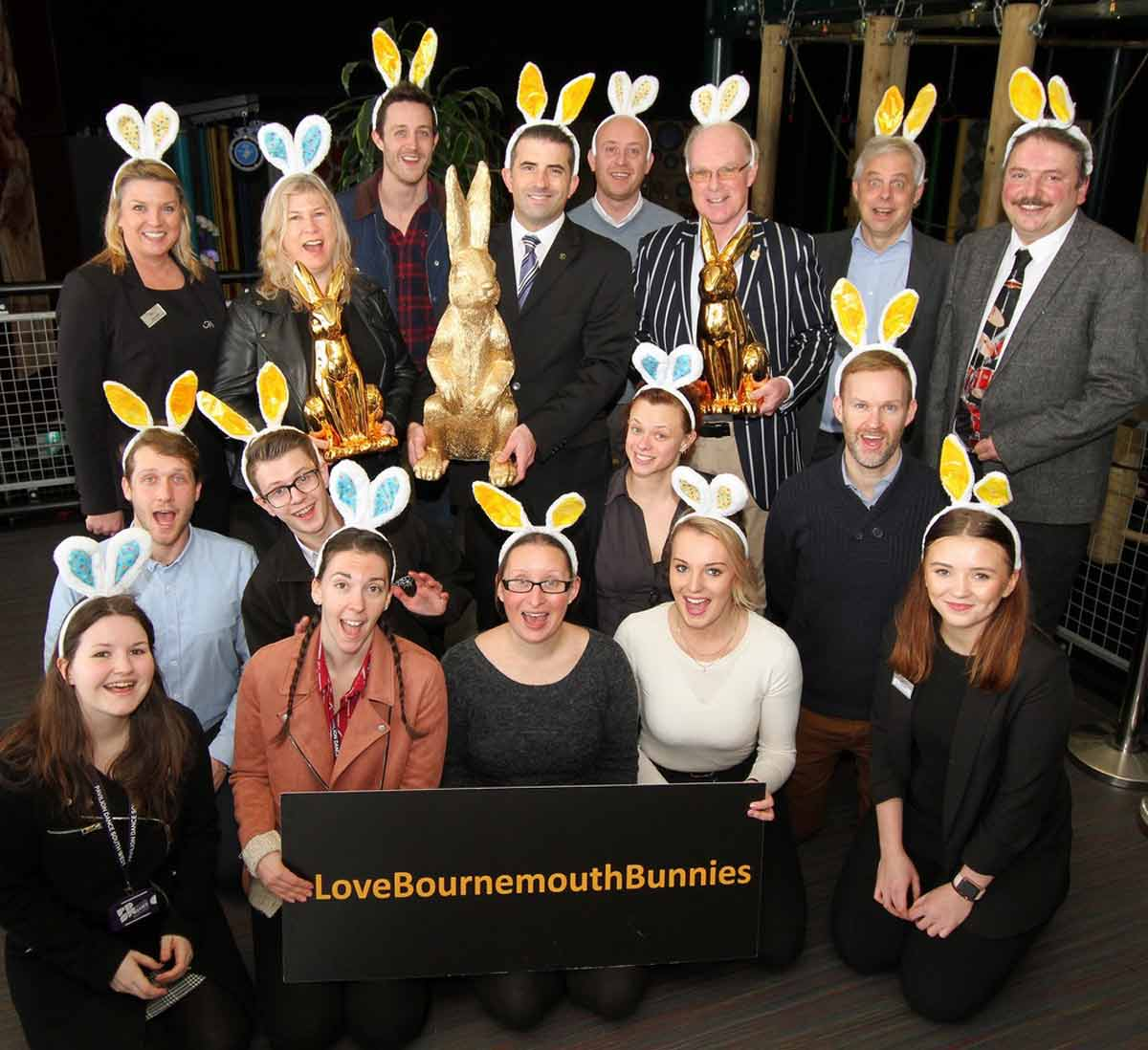 Members of the Bournemouth business community join Coastal BID to launch Love Bournemouth Bunnies © Hattie Miles