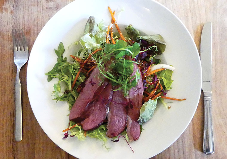 The Compasses Inn duck salad