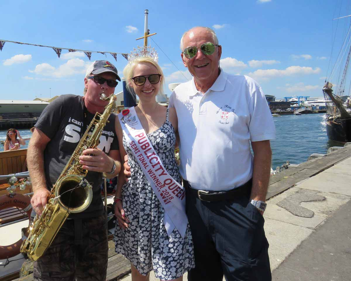 Sea sounds: Chris Croft, Samantha Bumford and Gerry Clarke on Poole Quay before the cruise