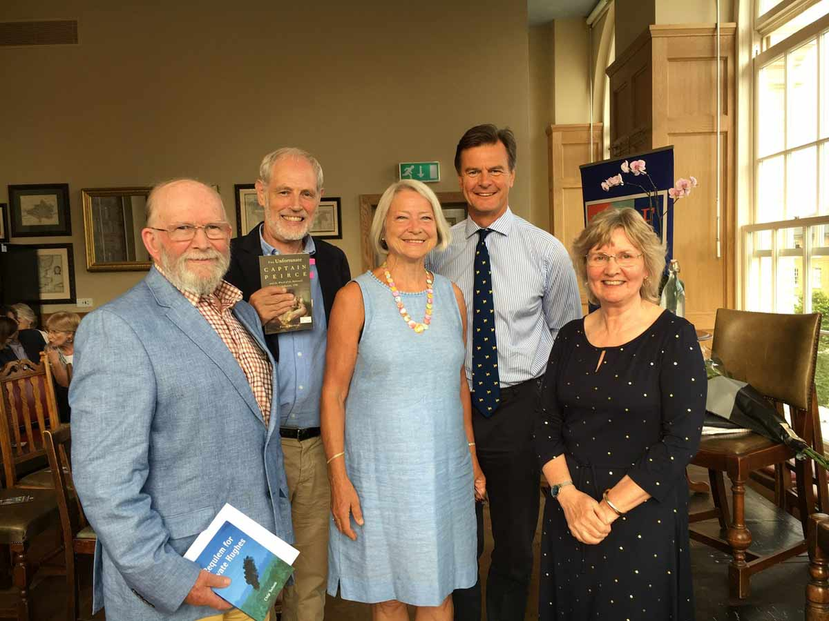 Kate Adie and Anthony Woodhouse (centre, centre right) with the three shortlisted writers