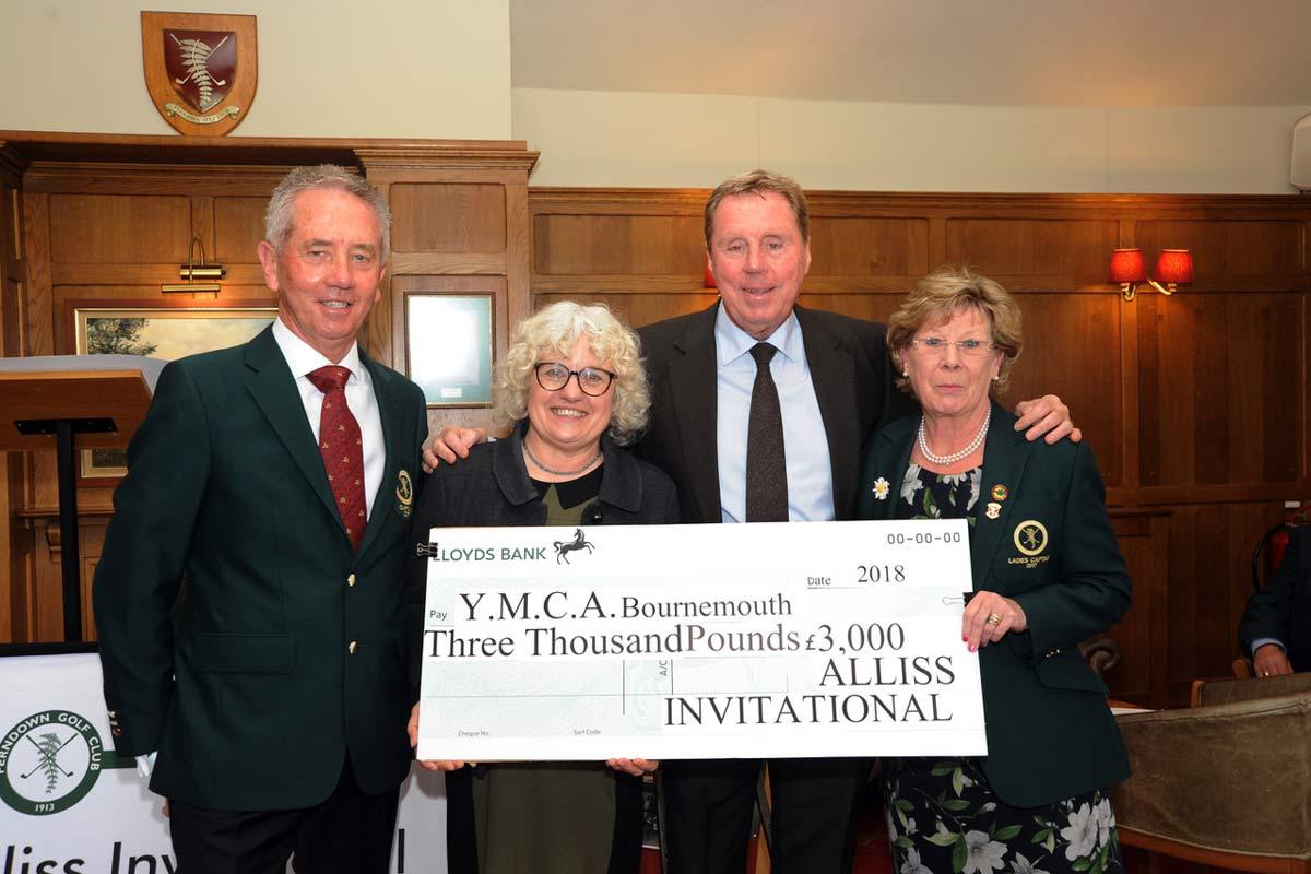 (L – R) Men's captain, Stuart Mackenzie, Sheena Dayman, Harry Redknapp and ladies captain, Helen Strawford.
