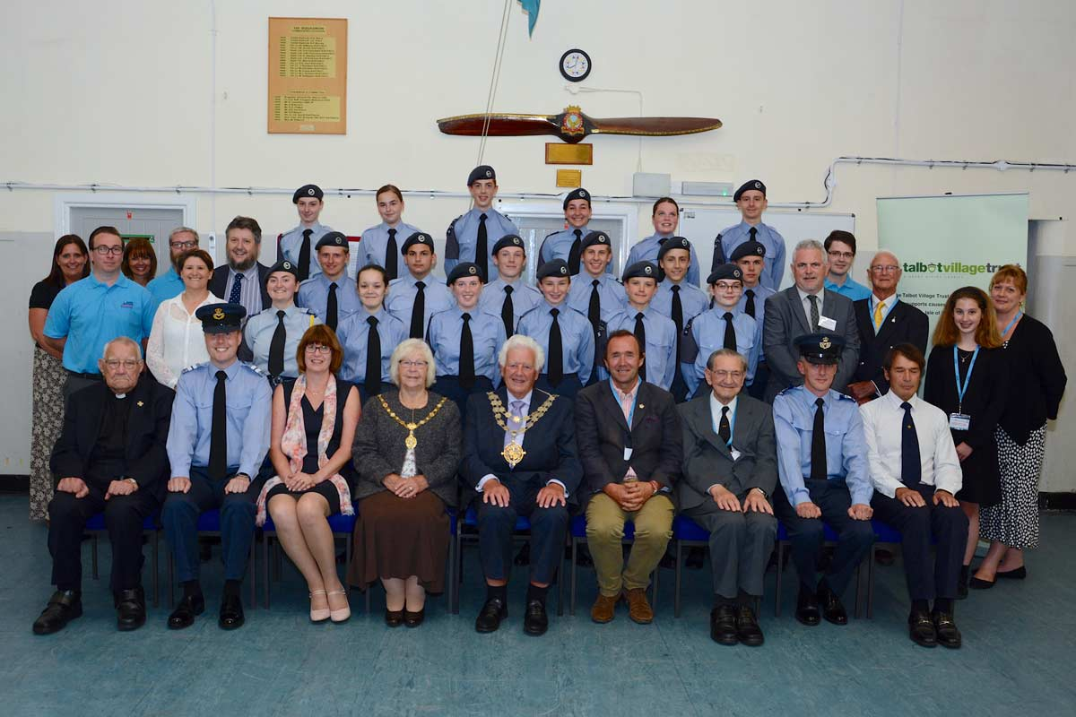 Mayor of Bournemouth, Cllr Derek Borthwick, & Mayoress of Bournemouth, Mrs Borthwick and VIP guests with the 130 Bournemouth Squadron Royal Airforce Royal Air Cadets