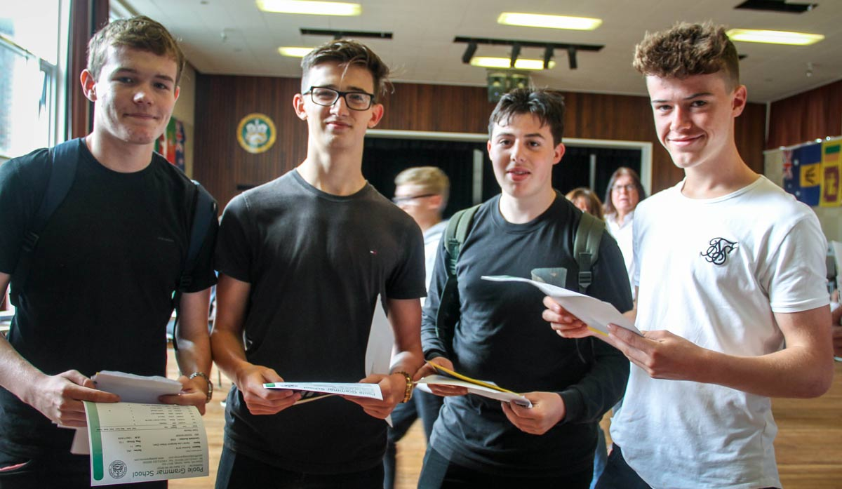 Students from Poole Grammar receive their GCSE results