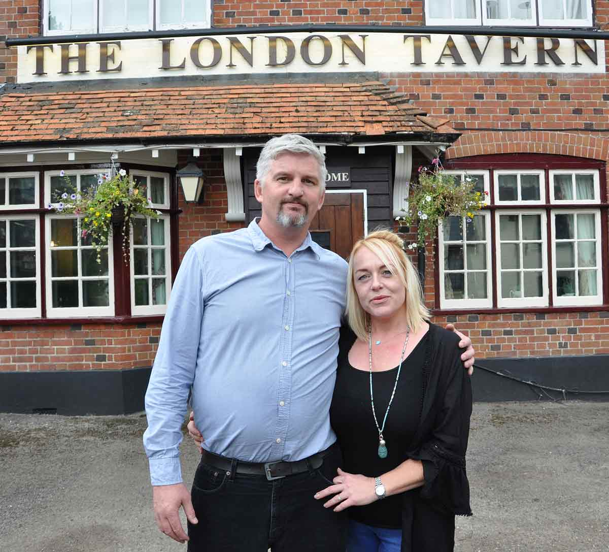 Phil and Sarah, new owners of the London Tavern in Poulner, Ringwood