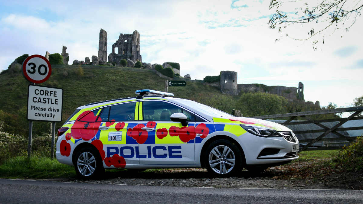 Dorset Police cover police car in poppies for third year in a row