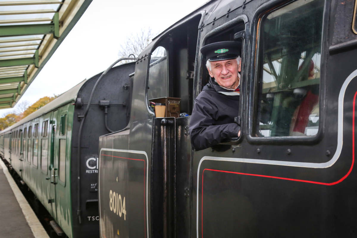Full steam ahead as Mike, 83, takes to the footplate