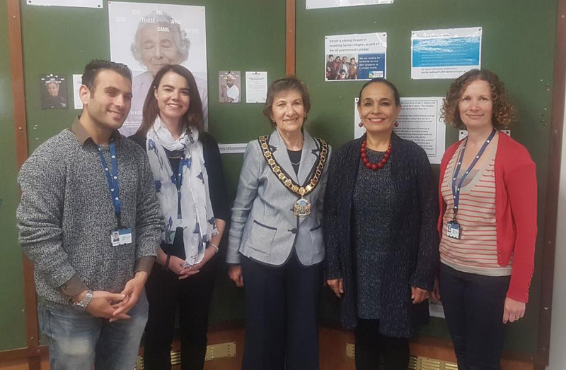 Pictured from left are: Hamza Bakkor Dorset Council Case Worker, Jenny Willoughby, Syrian Programme Officer, Cllr Pauline Batstone, Dorset Council Chairman, Mona Elkotory , South West Dorset Multicultural Network and Susan Ward-Rice, Dorset Council Diversity and Inclusion Officer