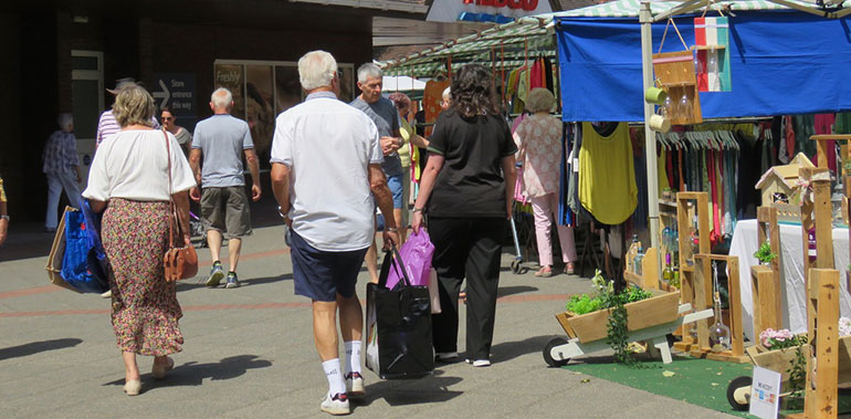 People at Ferndown Friday Market