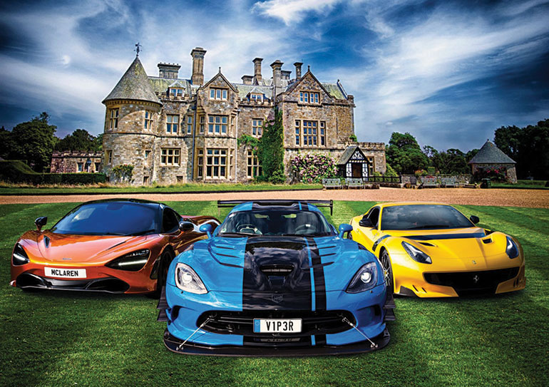 Supercars in front of Beaulieu House