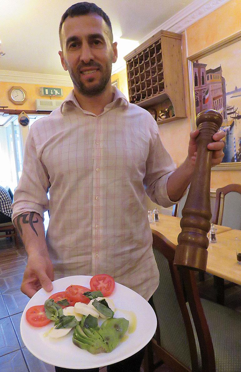 Turi serves Insalata Tricolore