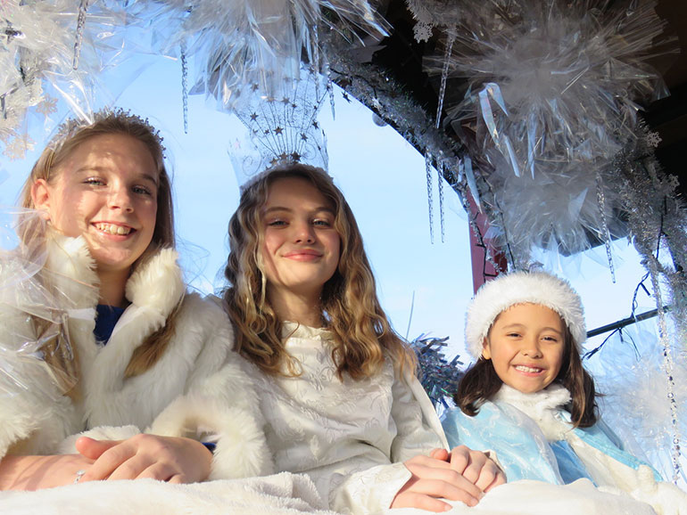 Snow princess and attendants at Wimborne Save the Children parade