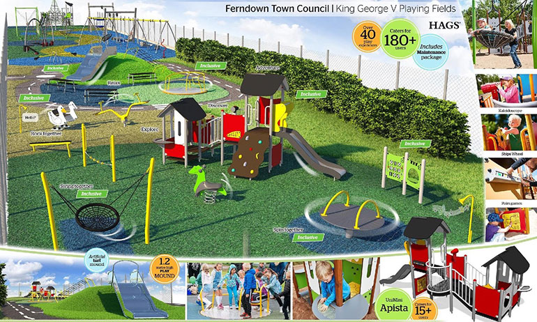 Artists impression of new play park at King George V Fields, Ferndown