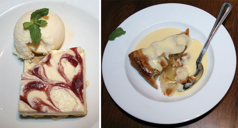 Cheesecake and apple pie at The Coventry Arms