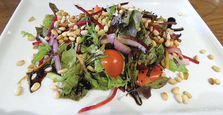 Old Beams Grilled pine nut and Mediterranean salad