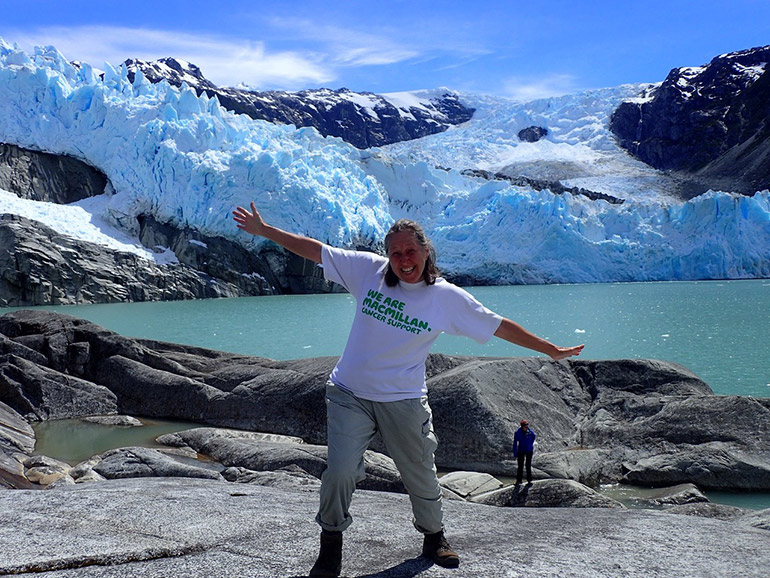 Caption: Pam Smith on the edge of a vast icecap in Patagonia
