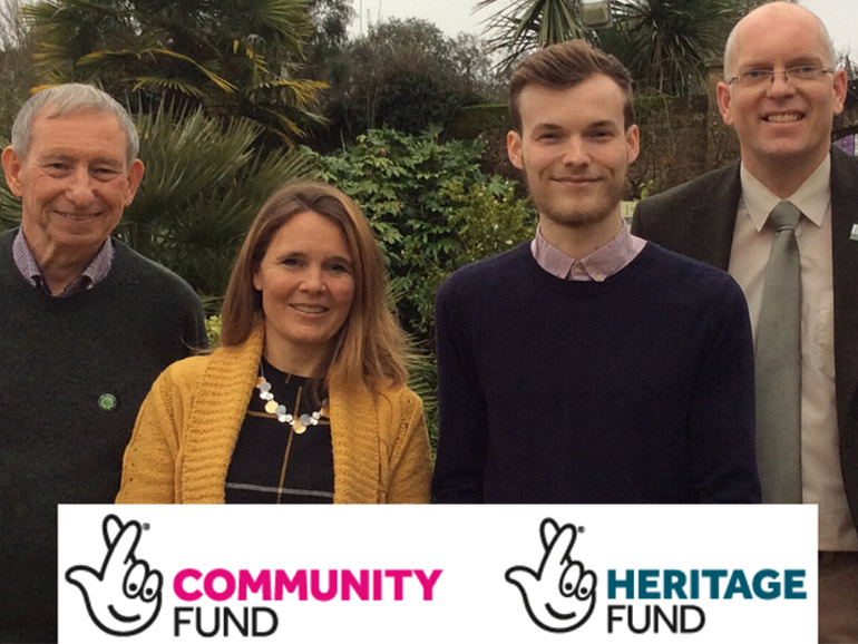 L-R Mike Yeomans, president of The Friends of Upton Country Park, Cllr Vikki Slade, leader of BCP Council, Cllr Lewis Allison, Cabinet member for Tourism and Leisure, BCP Council and Roger Brewer, team leader at Upton Country Park