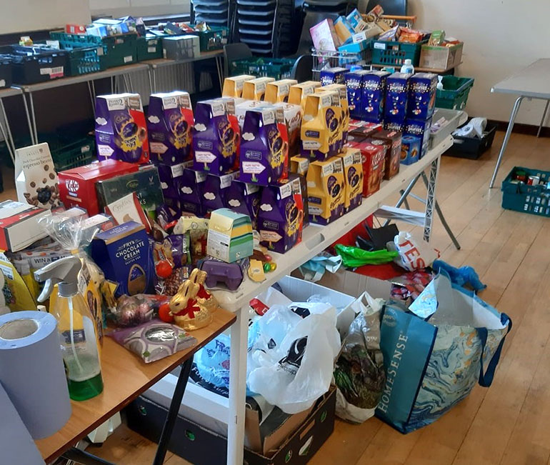Poole foodbank Easter egg collection