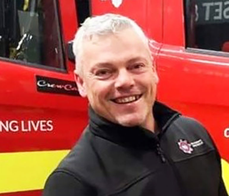 Firefighter Simon Kaye who died suddenly on 13 April
