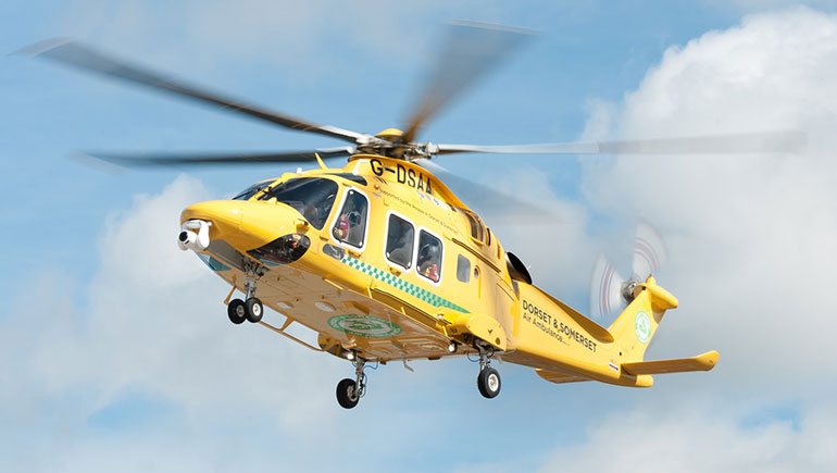 The Dorset and Somerset Air Ambulance AW169 helicopter flying high