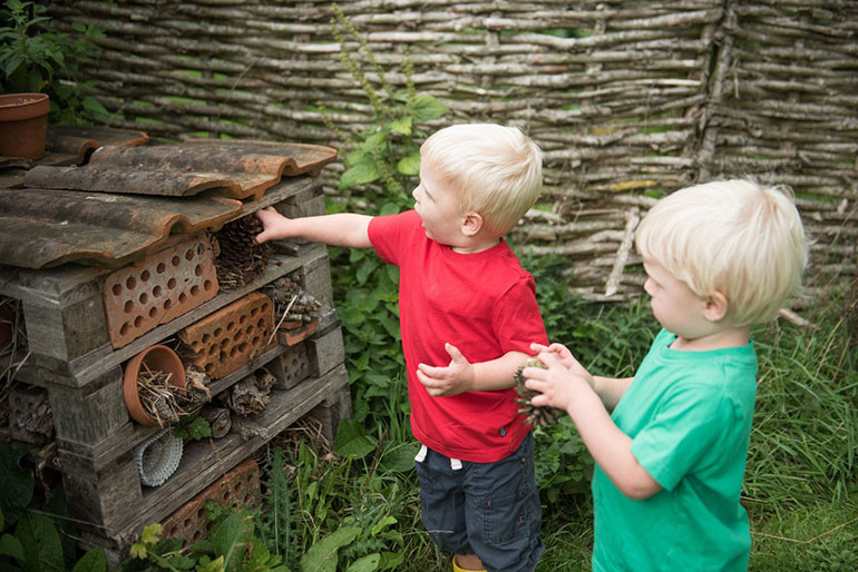 Getting involved with the 30 Days Wild Challenge by building a bug hotel in the garden © Katharine Davies