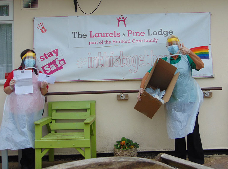 Thumbs up from The Laurels & Pine Lodge from Poole for their delivery of PPE from BOFA International