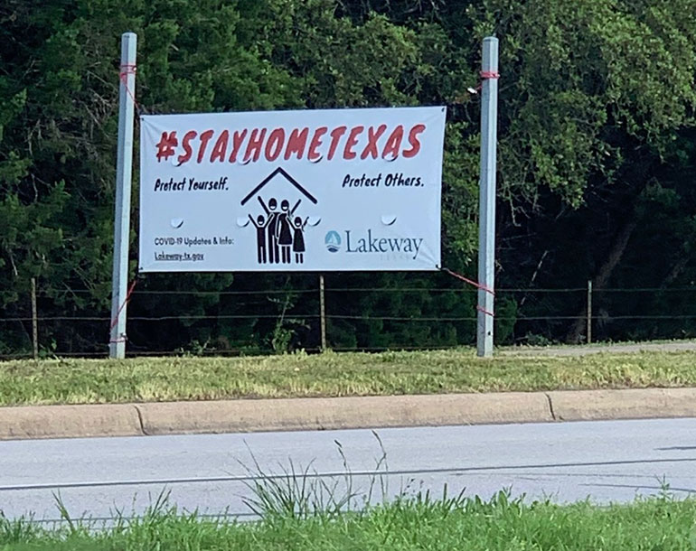 Texas stay home sign