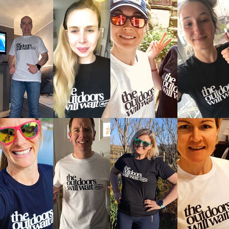 Members of the trail running community with their T-shirts