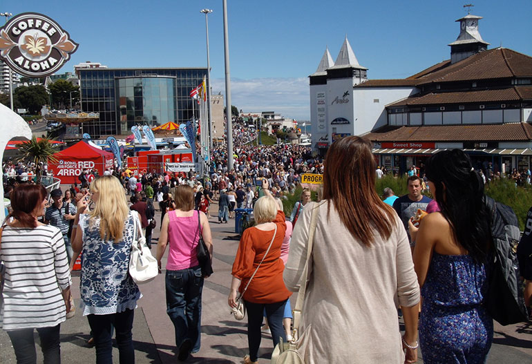 he crowds at Bournemouth Air Festival won't be seen until 2021 as the event this year is cancelled (nostalgia buffs: this typical air festival crowd scene was taken in 2011 and still shows the IMAX building – once dubbed 'the most hated building in Britain' – it was finally flattened in 2013)